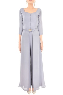 Lilac grey gown with pants