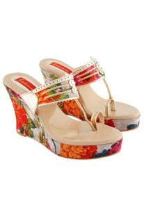 Multi colored flora printed wedges