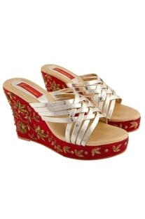 Red sequin embroidered wedges