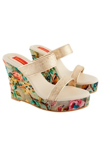 Multi colored floral & bird printed wedges