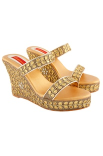 Gold wedges with gota patti work