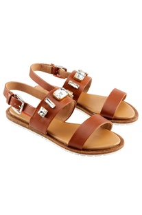 Brown sandals with studded embellishments