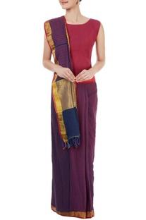 Purple & blue striped sari