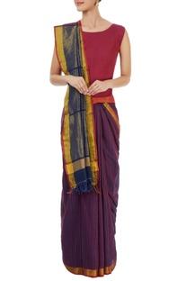 Navy blue & purple striped sari