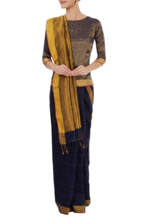 Navy blue & gold sari with striped blouse