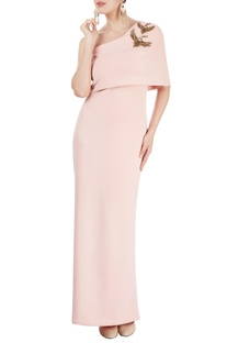 Blush pink gown with bird motif