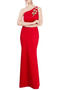 Red gown with embroidered motif