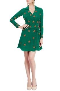 Emerald green dress with zardozi
