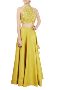 Olive green lehenga set with embellishments