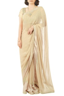Beige sari with zardozi embroidered blouse