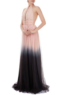 Pink & grey ombre gown