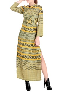 Green & yellow printed dress