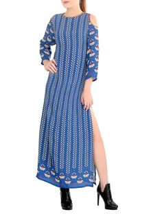 Blue printed cold shoulder dress