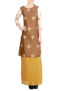 Mustard yellow & brown printed skirt set
