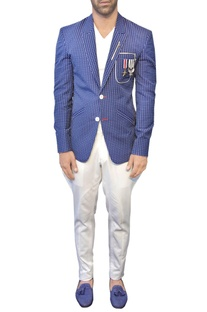 Blue jacket with white polka dots