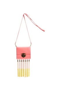 Pink bag with beaded tassels