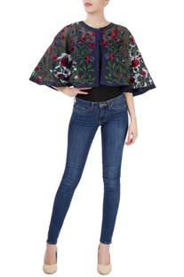 Navy blue embroidered cape