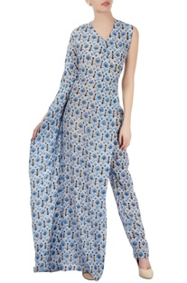Grey one sleeved jumpsuit with blue print
