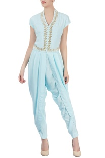 Light blue draped jumpsuit with beadwork