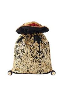 Black & gold embroidered potli