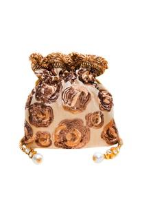 Beige & gold sequin embroidered potli