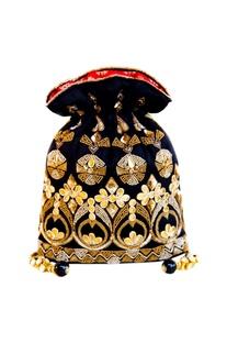 Black & gold gota embroidered potli