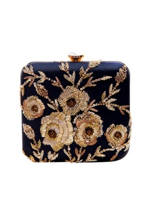Black clutch with rose embroidery