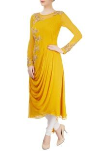 Mustard yellow draped kurta with embroidery