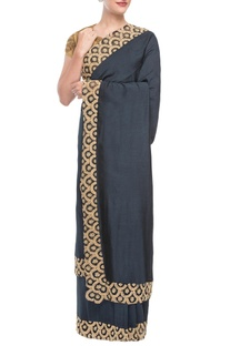 Navy blue sari with ochre embroidered blouse