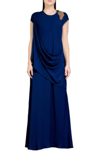 Navy blue dress with cowl drape
