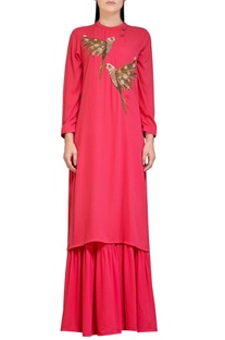 Coral pink sharara set with embroidery