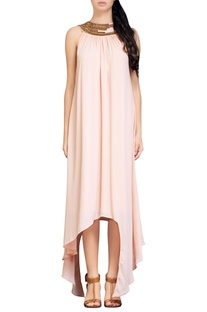 Light peach asymmetrical dress