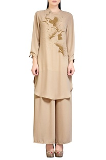 Beige palazzo set with embroidery