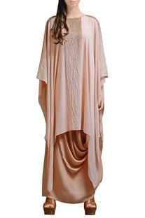 Peach asymmetrical cowl dress