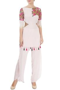 Light pink embroidered pant set