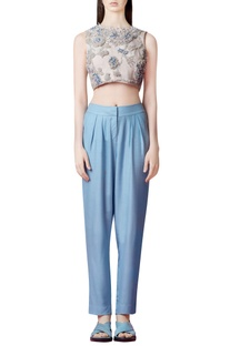 Powder blue pleated pants