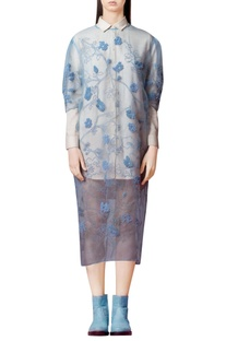 Powder blue embroidered cover up