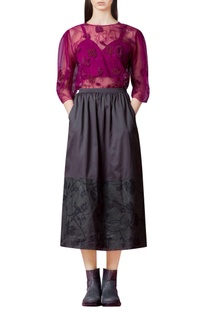 Fuschia sheer top with embroidery