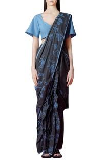 Charcoal grey sari with floral print