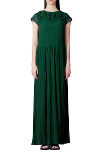 Forest green dress with embroidery