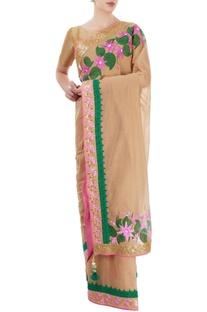 Beige hand painted sari