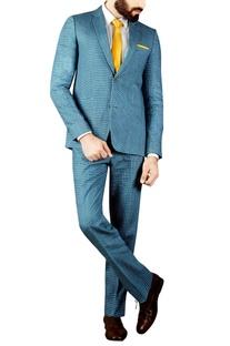 Grey & blue block printed suit