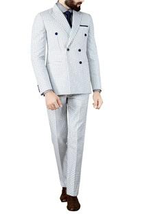 White suit blue checks