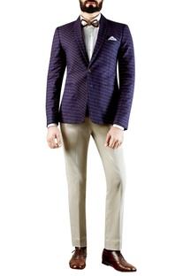 Navy blue distorted checkered print blazer
