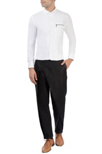 Black trouser with overlap detail