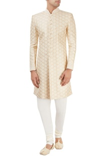 Beige printed sherwani set with embroidery