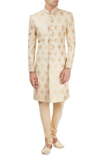 Off-white sherwani set with motif pattern