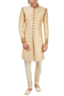 Gold embroidered sherwani set