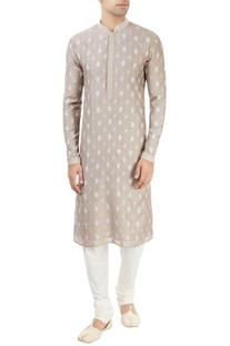 Light grey embroidered kurta