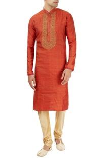 Rust orange kurta with embroidery